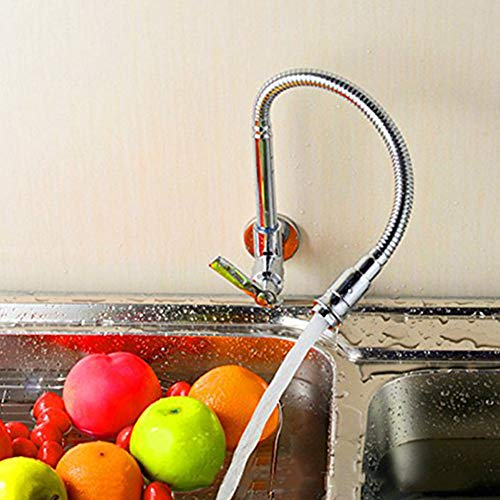 Inchant 360 Degree Swivel monotube poignée Robinet Chrome Finish Water Power Kitchen Sink Tap Eau Froide Robinets Simple Murale