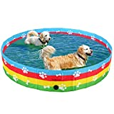 SCENEREAL Foldable Dog Swimming Pool - Collapsible PVC Pet Bathing Tub for Dogs Cats Kids, Portable Kiddie Rainbow Pool with Bone Footprint Pattern, Large/Extra Large
