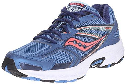 SAUCONY Saucony Women's Cohesion 9 Running Shoe, Blue/Light Blue/Coral, 5 M US