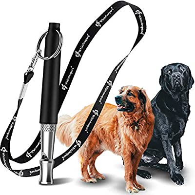 Dog Whistle with Free Lanyard, Adjustable Frequencies Ultrasonic Stainless Steel, Effective Way of Training, Professional Dog Whistles to Stop Barking (Black)