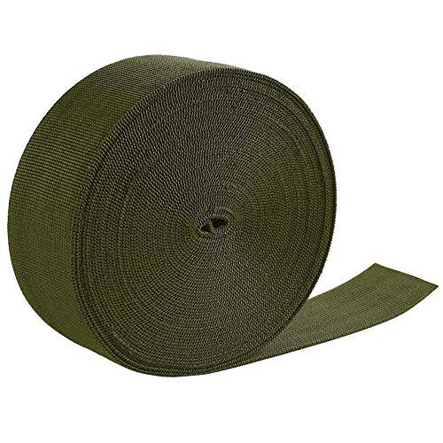 Jalan Correa de cincha Nylon 50 mm x 10 m, para Bricolaje, flejes de Mochilas, arneses y Collares de Perro - Verde