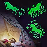 Adesivo stella fluorescente,2 pcs Unicorno Stelle Fluorescenti Adesivi da Parete Fluoresce...