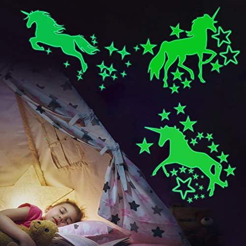 Adesivo stella fluorescente,2 pcs Unicorno Stelle Fluorescenti Adesivi da Parete Fluorescenti,per la decorazione del soggiorno della cameretta dei bambini