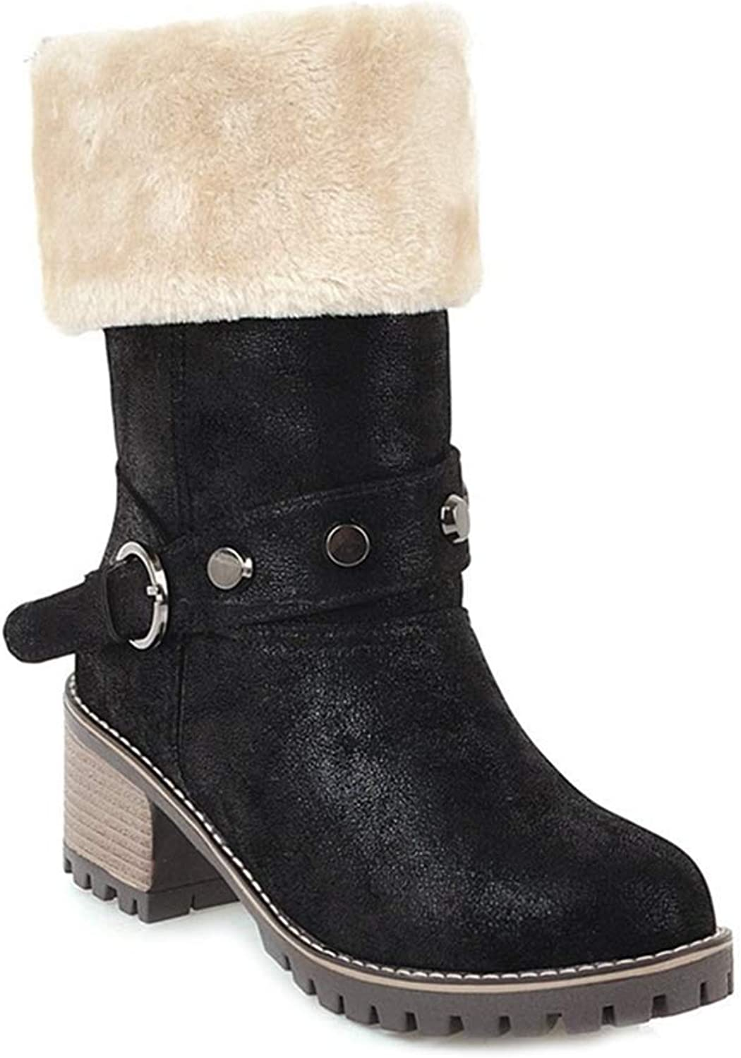 GIY Women's Winter Fur Ankle Boots Buckle Platform Chunky Mid Stacked Heel Bootie Mid Calf Warm Snow Boots