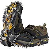 Lamsion Ice Cleats Crampons Traction Snow Grips for Shoes Boots Women Men Anti Slip 19 Snow Spikes for Walking Climbing Jogging Hiking Mountaineering (Black, Large)