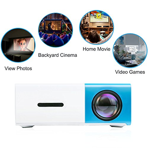 DeepLee DP300 Mini Projector, Portable LED Projector Home Cinema Theater with PC Laptop USB/SD/AV/HDMI Pocket Projector for Video Movie Game Home Entertainment Projector - Blue