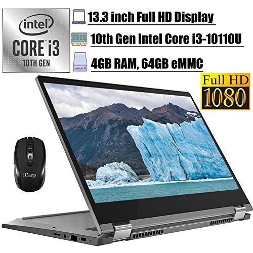 "2020 Flagship Lenovo Flex 5 13 Chromebook 2-in-1 Laptop13.3"" FHD Intel Core i3-10110U (Beats i5-7200U) 4GB RAM 64GB eMMC Backlit KB 720p Webcam USB-C Chrome OS + iCarp Wireless Mouse"