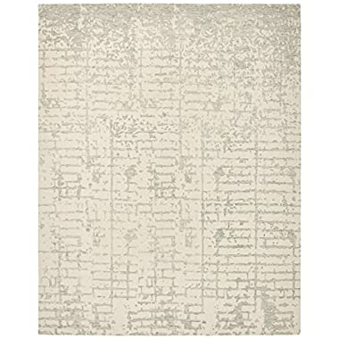 Rivet Contemporary Linear Distressed Wool Rug, 8' x 10', Grey