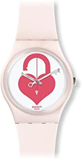 Swatch Unlock My Heart Ladies White (Unlock My Heart) Dial Light Pink Silicone Ladies Watch GZ292