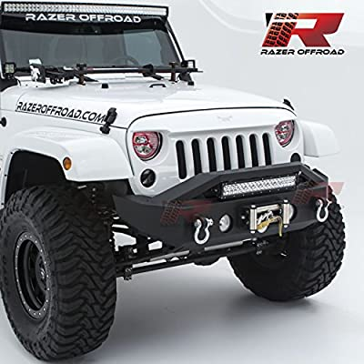 """Razer Auto 07-16 Jeep Wrangler JK Black Textured Rock Crawler Stubby Front Bumper with OE Fog Light Hole, 2x D-Ring and Built-In 22"""" LED Light bar mount & Winch Mount Plate"""