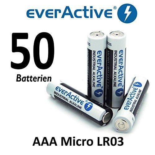 NEMT 50 X everActive Micro AAA LR03 MN2400 MX2400 Alkalinebatterien 1200 mAh