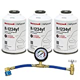 ZeroR Top Off Kit #3 - Genuine 8oz HFO-R1234YF Refrigerant (3 Cans) & HD Brass Can Tap with Gauge