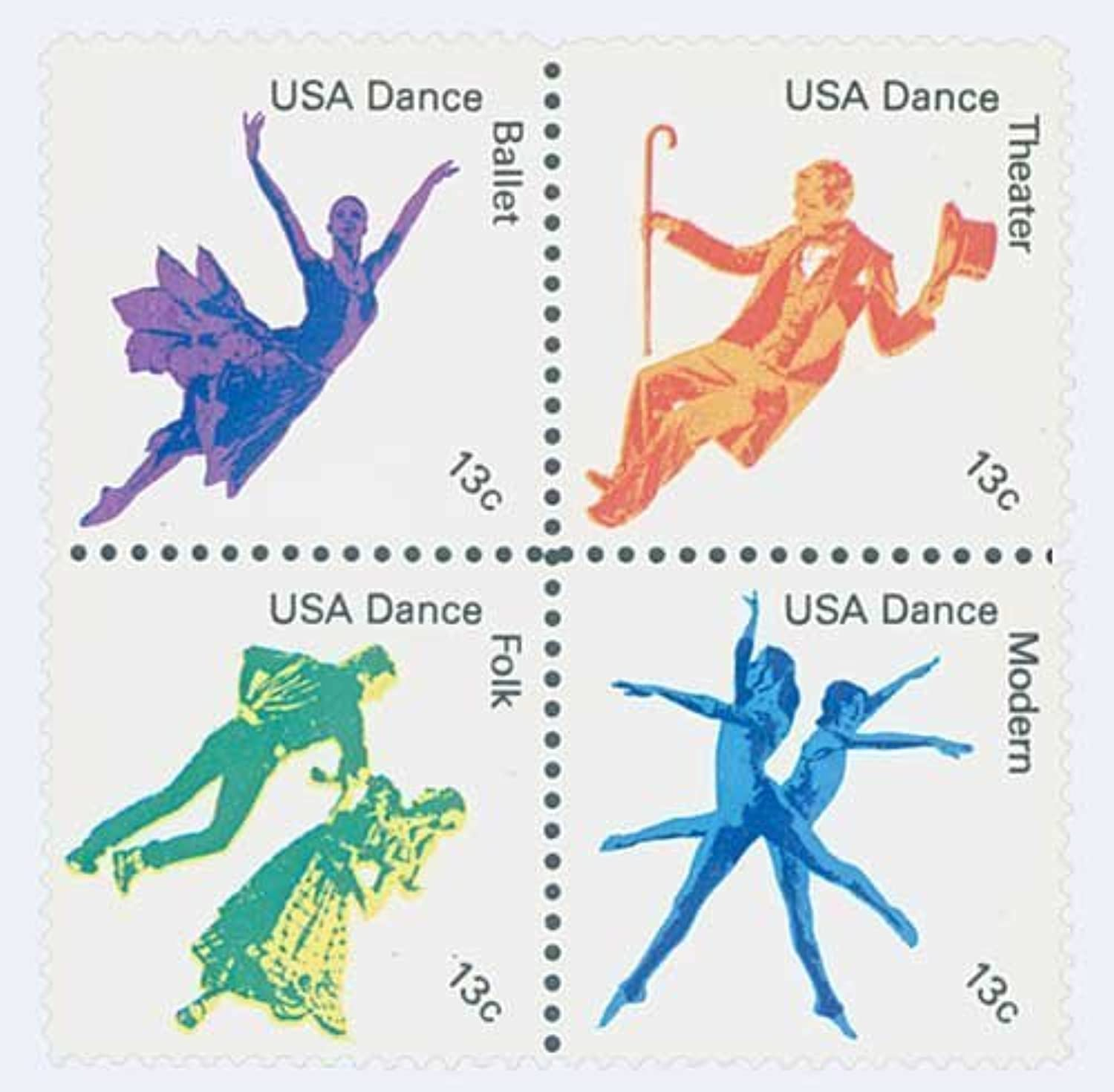 174952 American Dance U. S. Postage Stamps Full Plate Block (16) by U. S. Postage