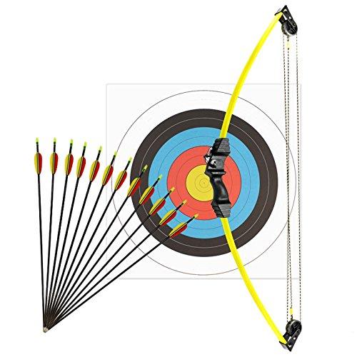 Kinderbogenset Komplettset Man Kung Compoundbogen Hawk® Gelb 86 cm / 10 lbs RH + 12 Pfeile + Zielscheibe 60 cm