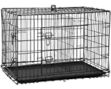 BestPet Large Dog Crate Dog Cage Dog Kennel Metal WireDouble-Door Folding Pet Animal Pet Cage with Plastic Tray and Handle,36 inches
