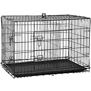 BestPet 48 inch 42 inch Large Dog Crate Dog Cage Dog Kennel Metal Wire Double-Door Folding Pet Animal Pet Cage with Plastic Tray and Handle (36″)