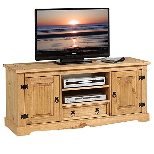 IDIMEX Meuble TV Tequila Banc télé de 140 cm en Bois Style Mexicain avec 1 tiroir 2 niches et 2 Portes, en pin Massif Finition teintée/cirée