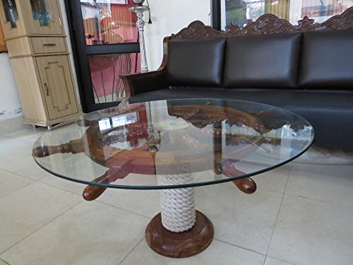 "SAILORS SPECIAL Nautical 36"" Ship Wheel Table With Glass Top And Rope Base"