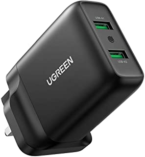 UGREEN USB Charger 36W QC 3.0 Quick Wall Charger Adapter 2-Port USB Travel Plug Compatible with iPhone iPad Galaxy S20 S10...