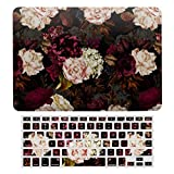 MacBook Air 13 Case A1466、A1369, Hard Shell & Keyboard Case Cover for Apple Mac Air 13, Lush Baroque Antique Peony Flowers On Black Laptop Protective Shell Set