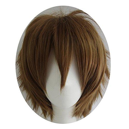 Alacos Short Fashion Dark Brown Layered Anime Cosplay Wig HalloweenChristmasCarnivalDressUpPretendPlayPartyWigGift+Cap