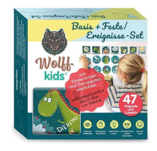 Wolff kids Wochenplaner Kinder Basis+Feste-Set,Tagesplan Kinder,Kinder Kalender, mein erster Kalender, erstes lernen,adhs,Kindererziehung, Kreidetafel