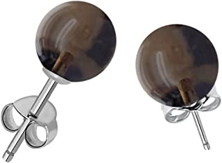 925 Sterling Silver Stud Earring For Women | Amethyst/Smoky Quartz/Pearl/Onyx Gemstone Multicolor Tiny Ball Studs For Girls | Birthstone Gemstone Anniversary Gift For Her