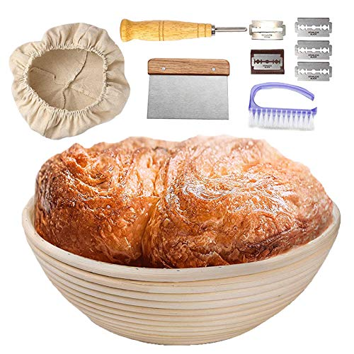 Sourdough Bread Proofing Basket Set, Banneton Proofing Basket for Bread Making Baking (with Metal Dough Scraper, Bread Lame, Scrub Brush) Brotform, Round Proofing Bowl Rattan Sourdough Banneton Basket