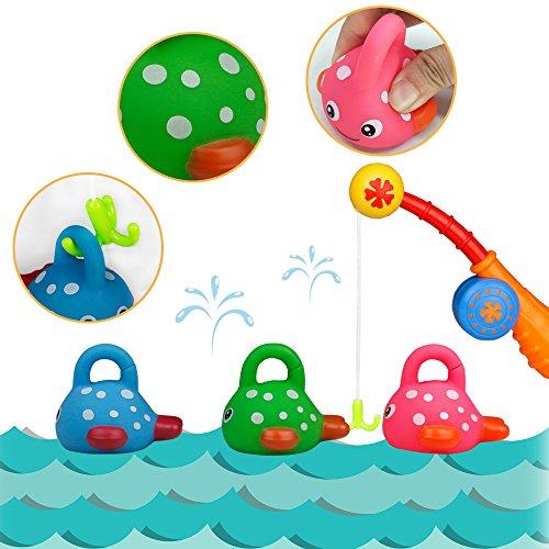TONZE Badespielzeug Angelspiel Badewannenspielzeug Wasserspielzeug Baby Fisch Spielzeug Wasser Kleinkindspielzeug Badespaß Spiel Wasser Play Set Geschenk für Kinder Baby ab 18 Monate+ (4 pcs)