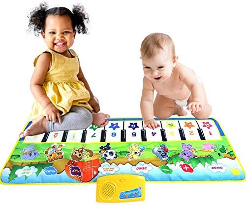 """RROWER Musik Mat Spielzeug, Klavier-Tastatur-Spiel-Matte Tanzmatte Elektronische Musik Mat Musical-Noten-Play Game Geschenke für Kinder Kleinkinder Mädchen Jungen (39 """"x17)"""