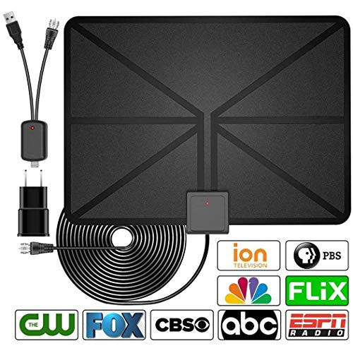 [2020 Latest] HDTV Antenna Indoor Digital TV Antenna, 60 Miles Range with Amplified Signal Booster Support 4K 1080P Freeview Channels - 13.2Ft Coaxial Cable and Power Adapter