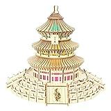 XW Modelo De Edificio 3D Puzzle - Templo De Pekín del Cielo Corte Láser Corte Tridimensional - Luces De Colores Y Altavoces Bluetooth - Regalo De Decoración del Hogar