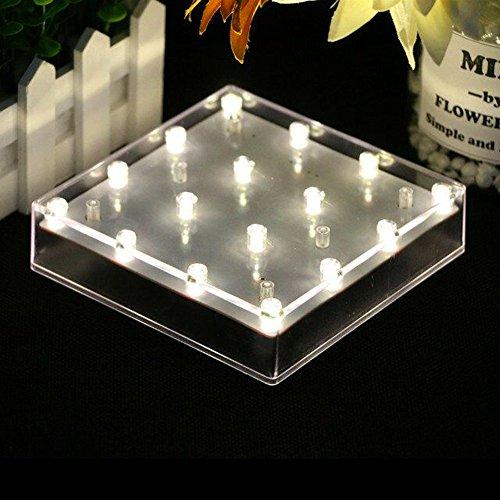 Lacgo Halloween Vase de Noël à LED Éclairage de plaque de base, 12,7 cm Acrylique carré 16 LEDs écran Clair Pour décoration de table de mariage, fête, maison Décoration (Blanc chaud) (1 pcs)