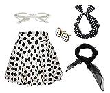 50's Costume Accessories Set Girl Vintage Dot Skirt Scarf Headband Earrings Cat Eye Glasses for Party (XL, White)