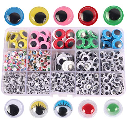 Exceart 1 Doos / 1500 Stks Googly Wiebelogen Zelfklevende Kleurrijke Plastic Veiligheidsogen Sticker Voor Diy Ambachtelijke Pop Maken Scrapbooking Decoraties