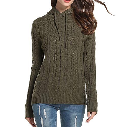 XWLY Sweater Damen Elegante Einfarbige Klassische All-Match Winter Langarm Mode...