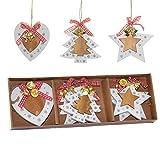 SHATCHI Adornos para árbol de Navidad de Madera, Juego de 6 Piezas con Cintas y Campanas, decoración para el hogar, 2 Estrellas, 2 Corazones, 2 Piezas en Forma de árbol (8 cm)