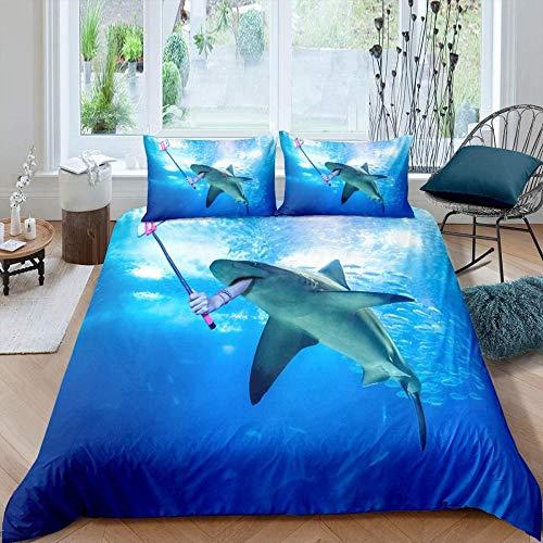Damqskd Underwater Creatures Blue Sea Whale - Super King (260 X 230 Cm) - Duvet Cover & Pillowcase Set Bedding Quilt Case Single Double King Super King