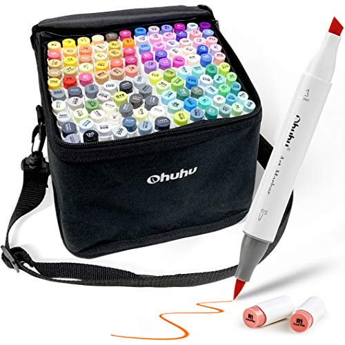 120-Color Alcohol Art Markers Set, Ohuhu Dual Tip, Brush & Chisel, Sketch Marker, Alcohol-based Brush Markers, Comes w/ 1 Blender for Sketching, Adult Coloring, and Illustration -Honolulu Series
