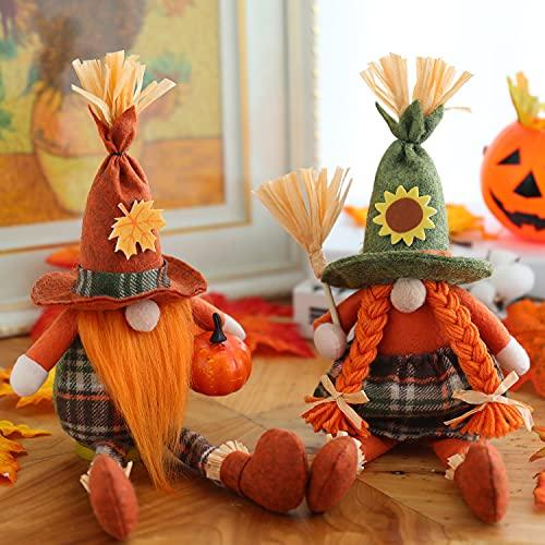 LNBFEE Fall Gnome Handmade Swedish Tomte, 2 Set Thanksgiving Plush Ornament Scandinavian Gnomes Elf Doll for Autumn Seasonal Home Decor Gnome(Harvest Style)