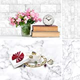 Allenjoy 34.4x15.7in Double Sided White Photography Background 2 in 1 Marble Brick Wall Texture Pattern Waterproof Paper Tabletop Backdrop Cosmetics Jewelry Small Product Photoshoot Professional Props