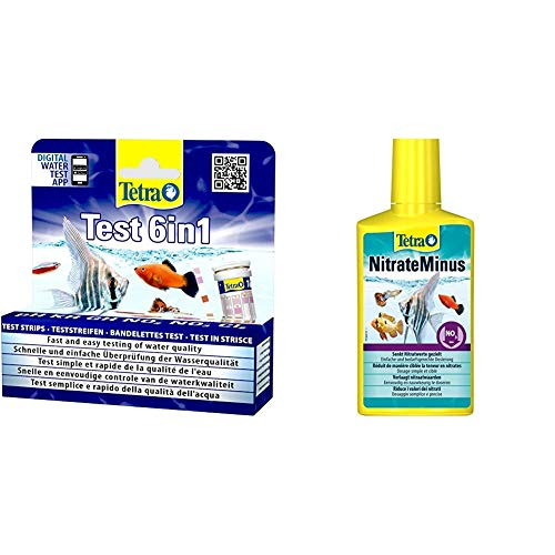 Tetra Test 6in1 Wassertest, für das Aquarium, schnelle und einfache Überprüfung der Wasserqualität, 1 Dose & NitrateMinus (zur Senkung des Nitratgehalts und zur biozidfreien Algenkontrolle)