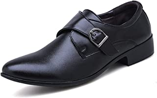 2019 Mens Summer Loafers Mens Black Brown Microfiber Leather Pointed Toe Waterproof Buckle Shoes for Men Dress Wedding Flat Fashion Anti-Slip Wear-Resisting Classic Business