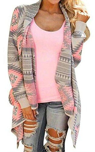 Myobe Women's Aztec Print Drape Open Front Drape Boyfriend Cardigan Sweaters Pink Red Large