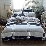 ZHHk Bettbezug Streifen Blau Weiß Grau Quadrat Baumwolle Einfach Aktiv Drucken Und Färben Kit...