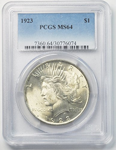 1923 P Peace Silver Dollar Brilliant Uncirculated Philadelphia $1 MS64 PCGS