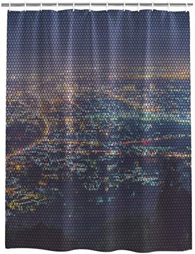 Rideau de Douche Moderne vue de Nuit affaires quartier Financier paysage Rideau de Bain Tissu imperméable décor de Salle de Bain Avec crochets