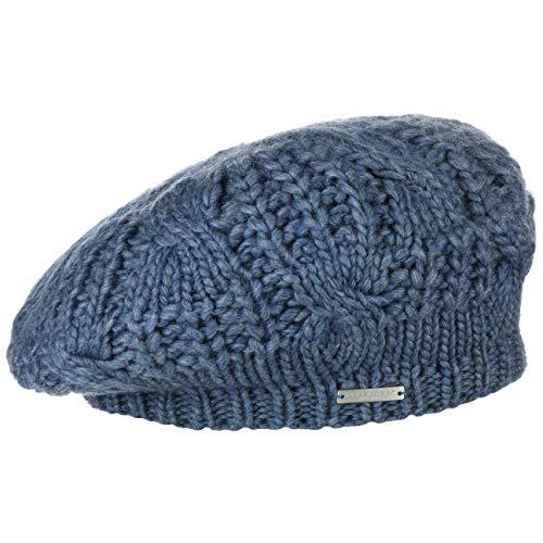 Seeberger Malida Strickbaske Baske Baskenmütze Damenbaske Winterbaske (One Size - blau)