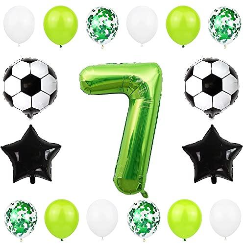 Liitata Globos de fútbol para 7º cumpleaños, decoración de 40 pulgadas, color verde, balón de fútbol, estrella y confeti, globos para niños, jóvenes, cumpleaños, fiestas, fútbol, decoración