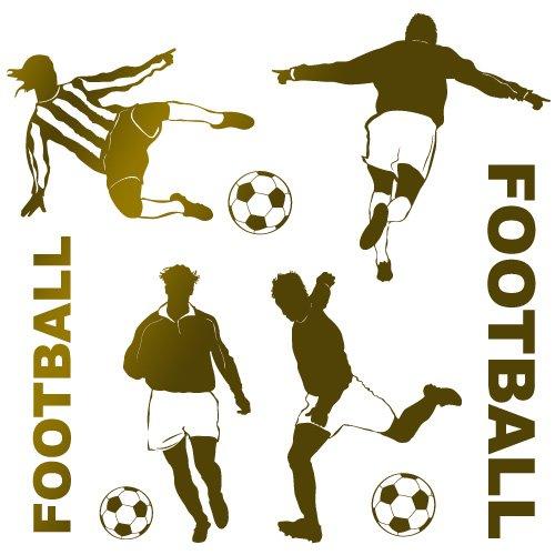 stickers footballeurs Or 80x77 cm